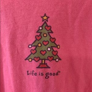 Life Is Good Womens XS Long Sleeve Pink Christmas